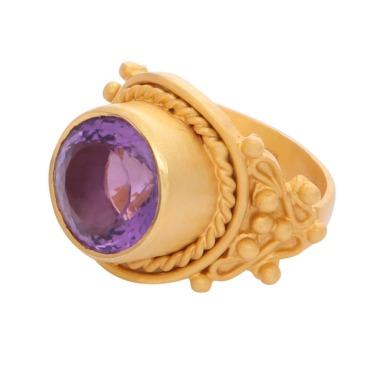 Intricate Amethyst Cocktail Ring Carousel Jewels @carouseljewels.com