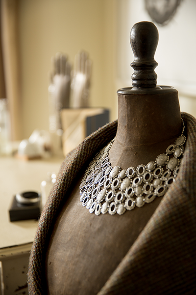 Catherine-Hills-Jewellery---Baroque-Armour-Collar-Necklace-in-her-room-on-a-vintage-wasp-waist-mannequin